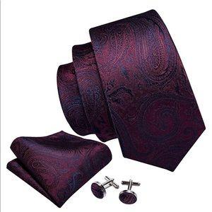 Burgundy & Blue Silk Tie, Hanky, & Cuff Links